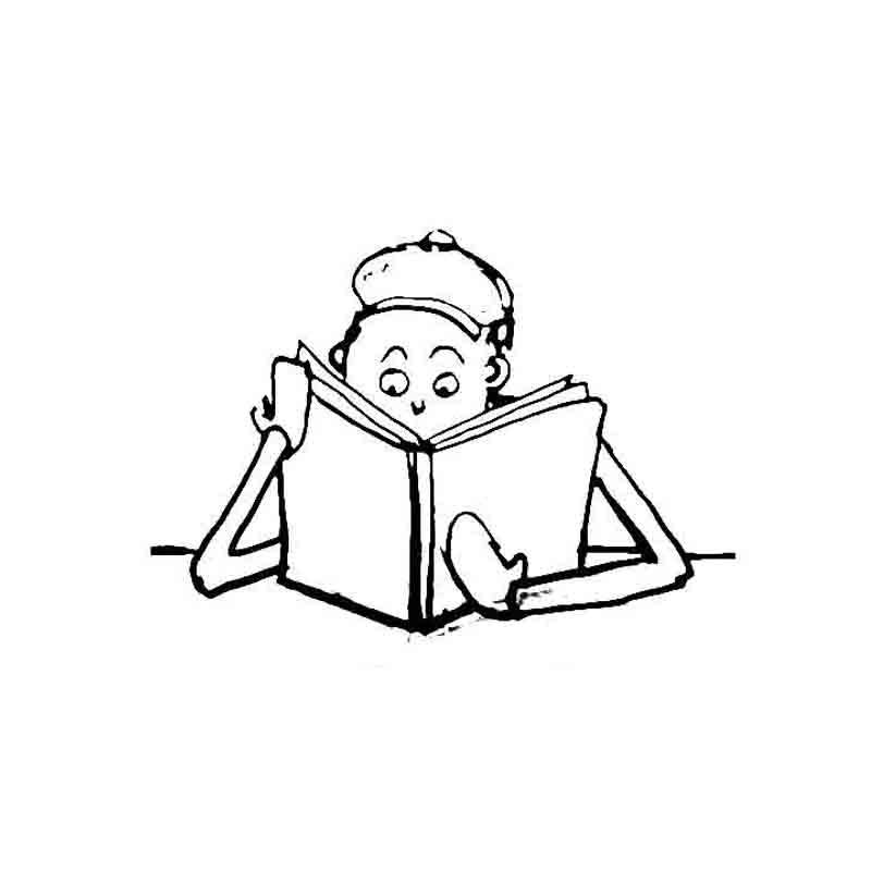 Cartoon man reading