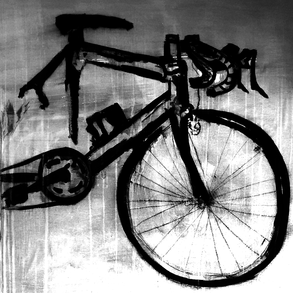 Ink drawing from observation with a bicycle
