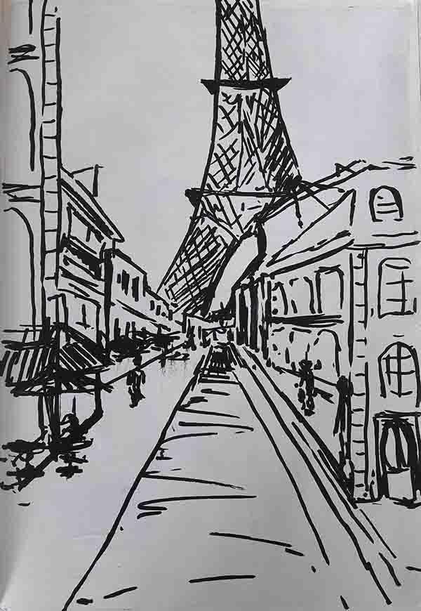Pencil sketch of paris