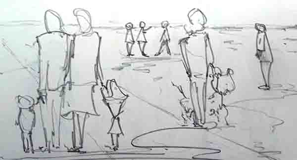 Pencil drawing from observation with people