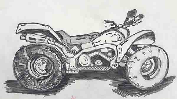 Pencil drawing from observation with photo of a quad bike