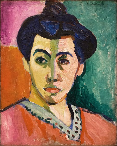Green stripe Henri Matisse using primary and complimentary colors