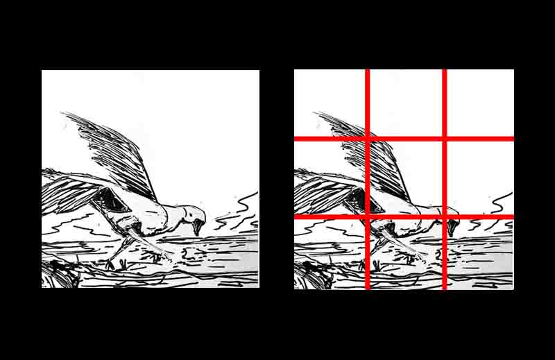 Art composition tips for beginners. Rule of thirds.