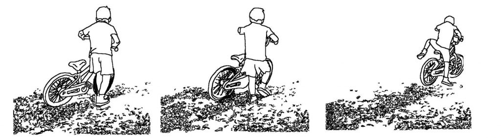 Observation drawing of a boy on bike