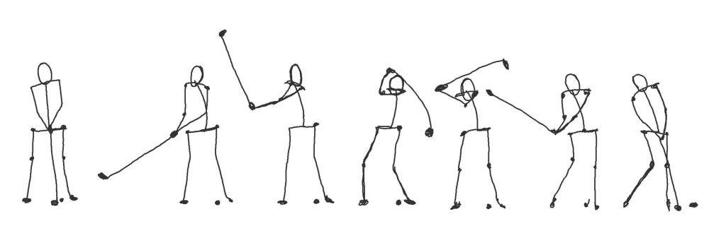 Stick figure golf swing