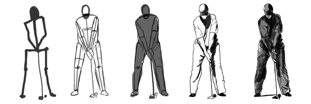 How to draw people & faces with a golfer