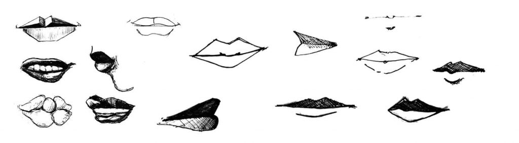 Drawing people and faces. Lips